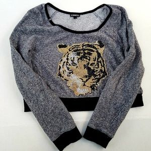EXPRESS Sequined Tiger Cropped Sweater